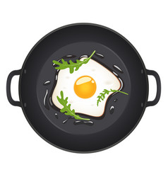 fried eggs with arugula on frying pan top view vector image