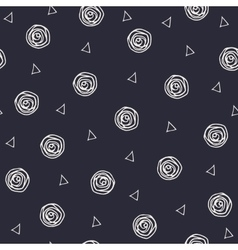 Geometric hand drawn polka dots and triangles vector