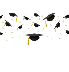 graduation banner with ceremony caps in air vector image