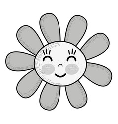 Grayscale kawaii flower happy cheeks and close vector