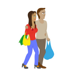 Guy and girl with shopping bags vector
