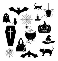 halloween of the set icons black evil vector image