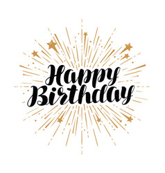 happy birthday greeting card handwritten vector image