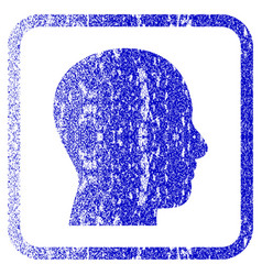 head profile framed textured icon vector image