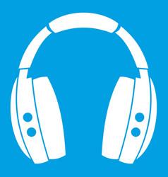 Headphones icon white vector
