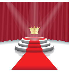 illuminated stage podium with crown red carpet vector image
