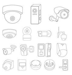 Isolated object of cctv and camera sign set of vector