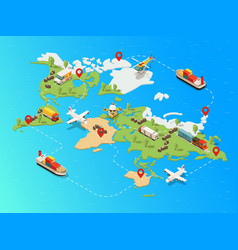 Isometric global logistic network template vector