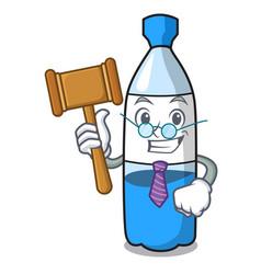 Judge water bottle mascot cartoon vector
