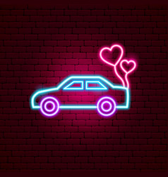 Just married car neon sign vector