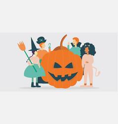 Kid characters wearing halloween costumes vector