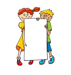 kids with a banner vector image