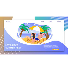Landing page with lets have summer rest inviting vector