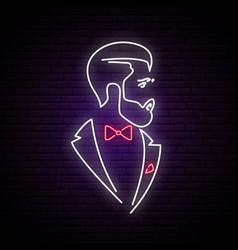 light neon signboard with elegant gentleman vector image