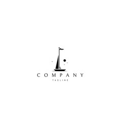logo on which an abstract image a yacht vector image