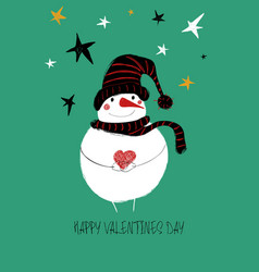 love card with cute snowman vector image