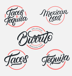 Mexican food and drink tequila tacos burrito vector