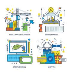 Mobile apps development online banking creative vector