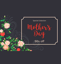 mother day camellia concept banner cartoon style vector image
