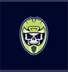 Motocross supermoto helmet skull vector