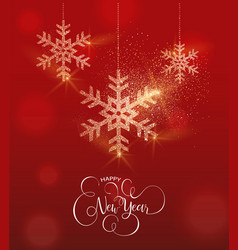 new year gold glitter snowflake greeting card vector image