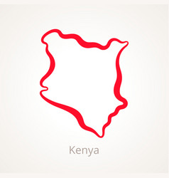 Outline map of kenya marked with red line vector