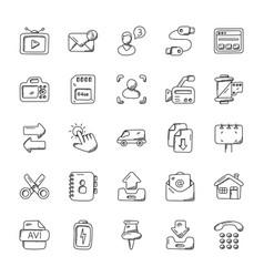 Pack of media icons doodle vector