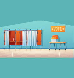 Polling station empty interior voting booths vector