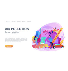 Power station and air pollution landing page vector
