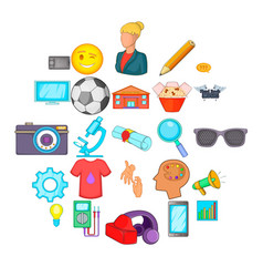 practice icons set cartoon style vector image
