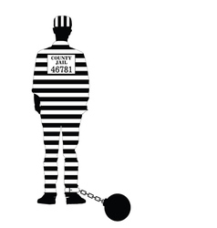 prisioner with ball in black and white vector image