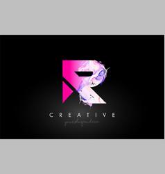 R letter artistic purple paint flow icon logo vector