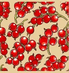 Red currant berries patten vector