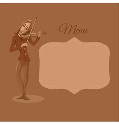 Restaurant or cafe menu violinist playing vector