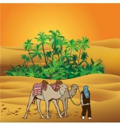 Sahara desert oasis vector image