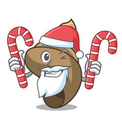 Santa with candy spiral shell mascot cartoon vector