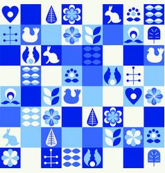 scandinavian folk art style pattern set vector image