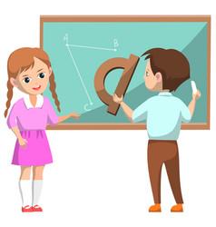 schoolchildren near blackboard on geometry lesson vector image