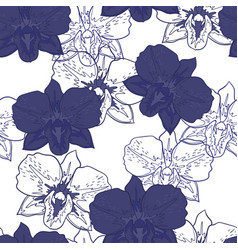 Seamless floral pattern blue orchids vector