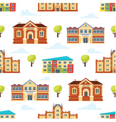 seamless pattern with educational buildings vector image
