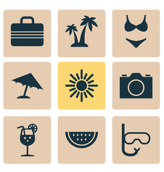 Season icons set collection of baggage parasol vector