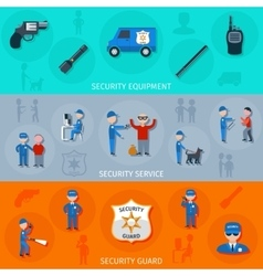 Security guard horizontal banners set vector