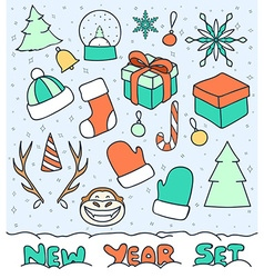 Set 20 Christmas doodle sketch objects for vector