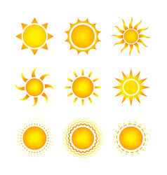 Set nine different bright sun icons on white vector