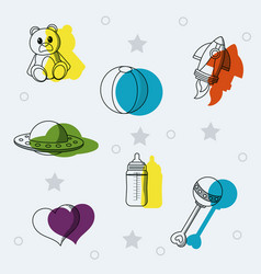 set of baby toys doodles vector image