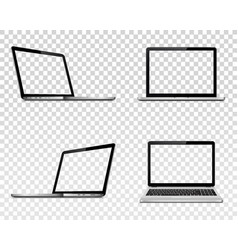 Set of laptop with transparent screen perspective vector