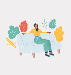 sleeping girl on sofa vector image