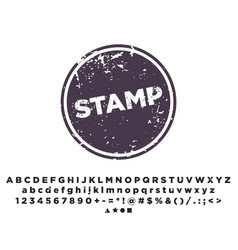 stamp template alphabet font stamping vector image