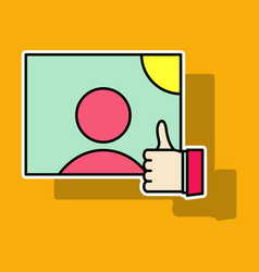 Sticker symbol of finger up thumb up in flat vector