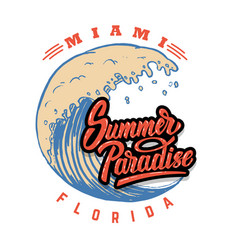 summer paradise emblem template with waves and vector image
